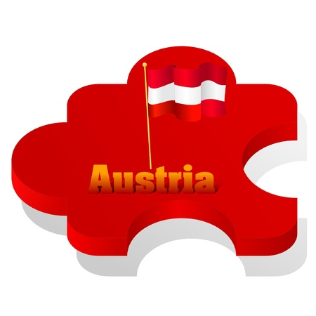 Vector illustration of puzzle with a flag of Austria Vector