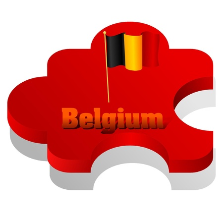 europa: Vector illustration of puzzle with a flag of Belgium