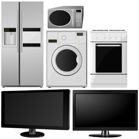 conjunto de los aparatos electrodomésticos. vector