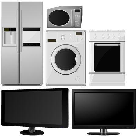 microwave oven: set of of household appliances. vector