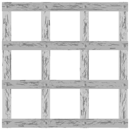 penitentiary: Vector illustration of a wooden lattice on a white background
