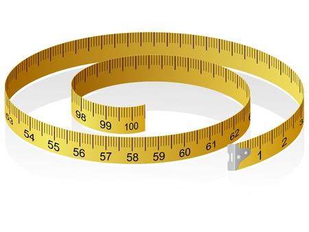 Ilustración vectorial de una cinta métrica con la reflexión