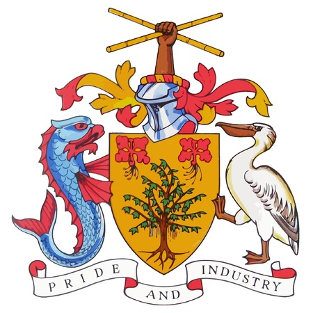 The national coat of arms of Barbados  Vector