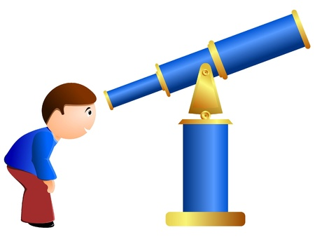 Vector illustration of a boy and a telescope Vector