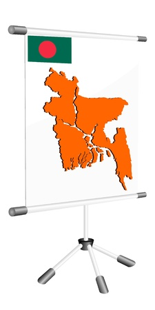 Vector display with a silhouette map of Bangladesh   Vector