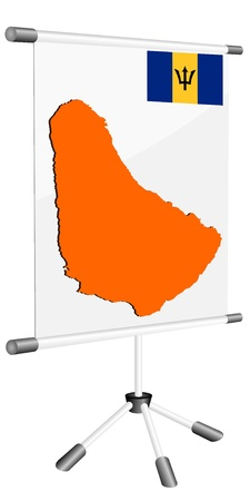 ferrous metals: Vector display with a silhouette map of Barbados