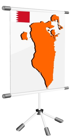 ferrous metals: Vector display with a silhouette map of Bahrain