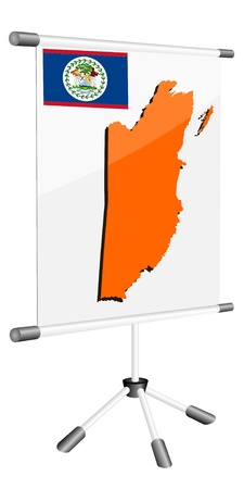 ferrous metals: Vector display with a silhouette map of Belize