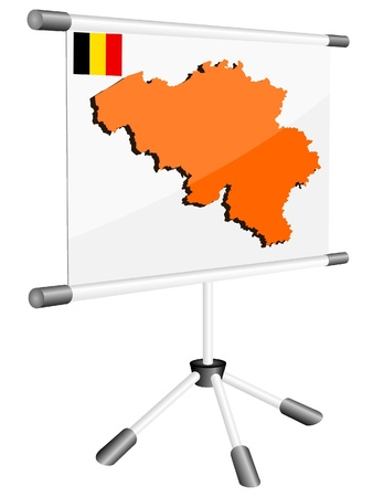 ferrous metals: Vector display with a silhouette map of Belgium  Illustration