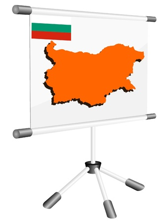 Vector display with a silhouette map of Bulgaria Vector