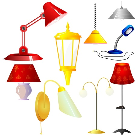 Collection of vector illustrations of lamps  Illustration