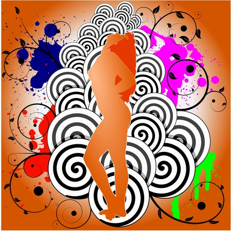 Vector illustration of abstract background with dancing girl Vector