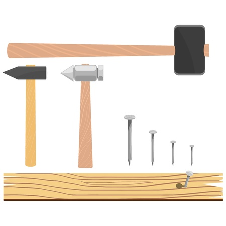 Vector illustration of a set of hammers Vector