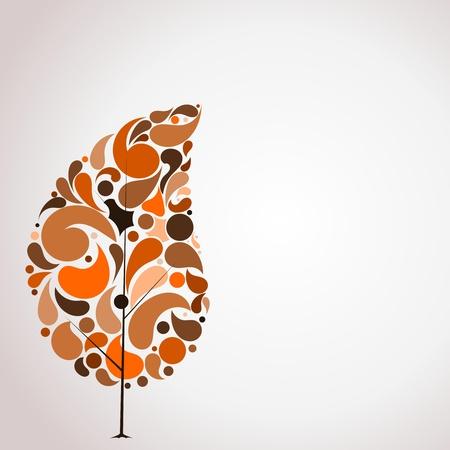 arboles de caricatura: Ilustración vectorial de árbol en otoño abstracto Vectores