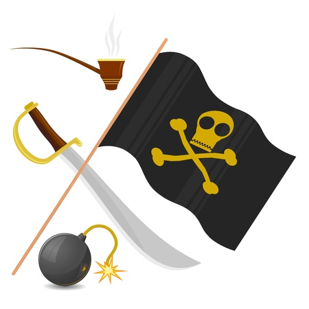 Collection of pirate attributes Stock Vector - 11942672