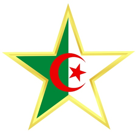 Gold star with a flag of Algeria Vector