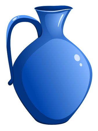 Blue ceramic pitcher. vector