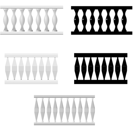 balcony: Set  of silhouettes balusters