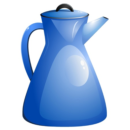 Blue coffee pot. Vector