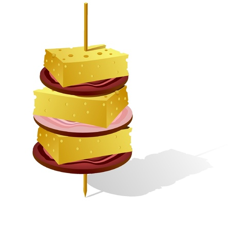 ham sandwich: Vector image canapes  Illustration