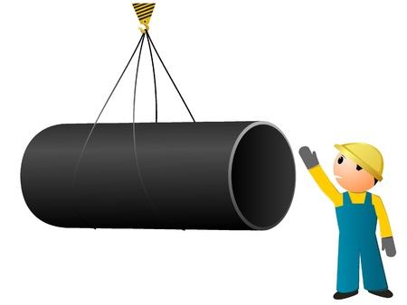 bouwkraan: Vector beeld laden van leidingen Stock Illustratie