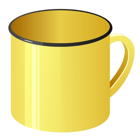 Vector illustration of a yellow enamel mug  Vector