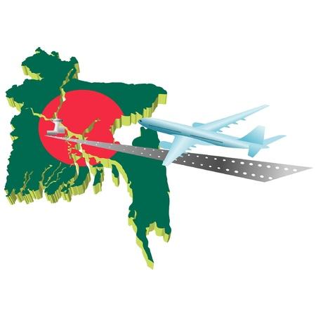 air travel: Viaggi aerei in Banglades Vettoriali