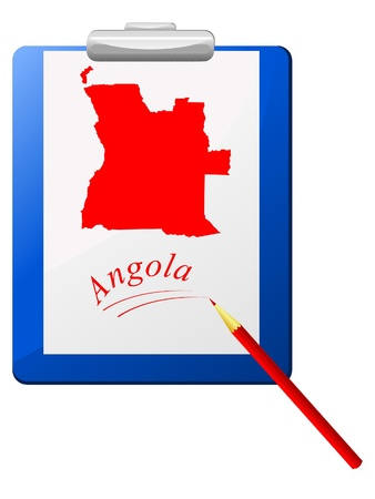 map of angola: Vector illustration of the clipboard with a map of Angola  Illustration