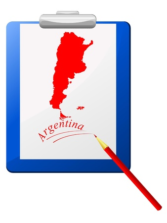 Vector illustration of the clipboard with a map of Argentina  Stock Vector - 12017546