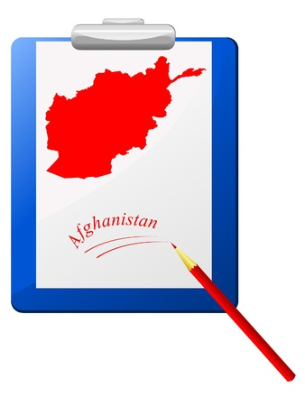 Vector illustration of the clipboard with a map of Afghanistan Stock Vector - 12017545