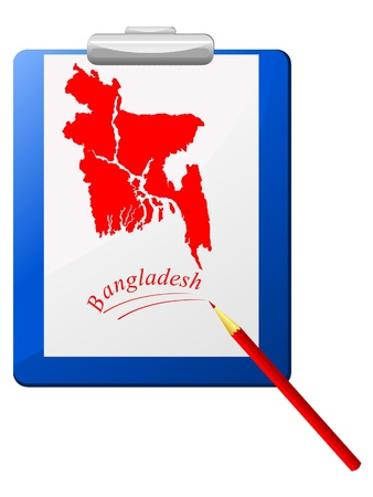 Vector illustration of the clipboard with a map of Bangladesh Stock Vector - 12017548