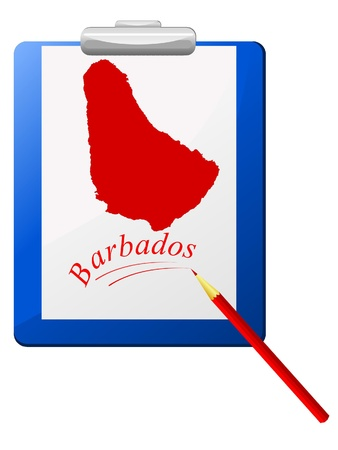 Vector illustration of the clipboard with a map of Barbados  Stock Vector - 12017451