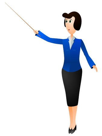 Vector illustration of a teacher with a pointer