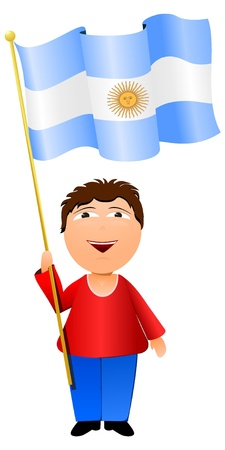 Vector illustration of a boy with the flag of Argentina Vector