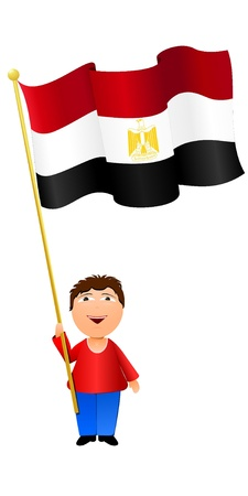 Vector illustration of a boy with the flag of Egypt  Vector