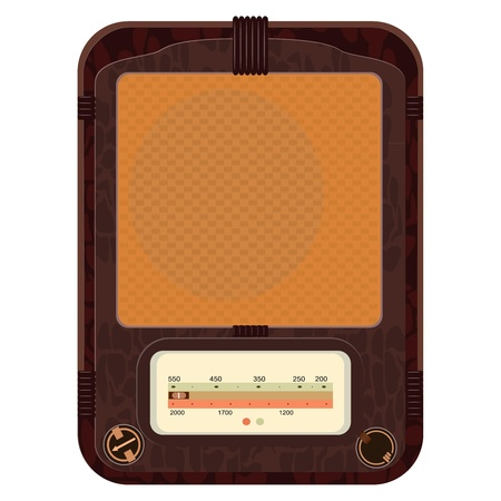 Vector illustration of an old radio  in a wooden case Stock Vector - 12021545