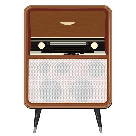portable radio: Ilustraci�n vectorial de una vieja radio en las piernas