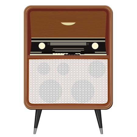 fm radio: Vector illustration of an old radio on the legs Illustration