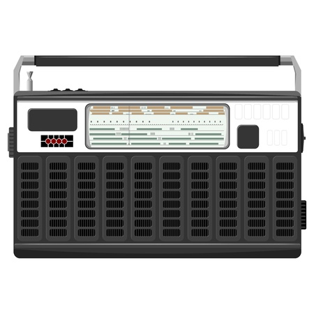 Vector illustration of a portable radio in a black casing.    Vector