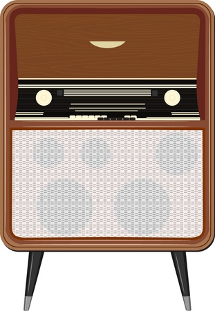 Vector illustration of an old radio on the legs Stock Vector - 12397472
