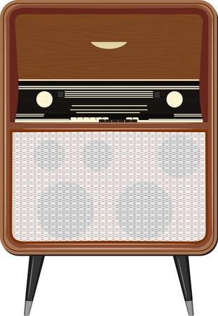 Vector illustration of an old radio on the legs Illustration