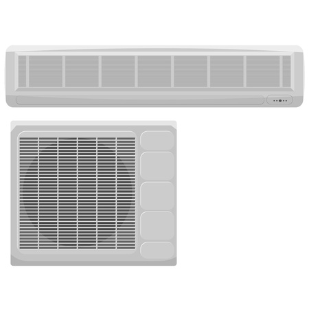 Vector illustration of modern air conditioning on a white background Vector