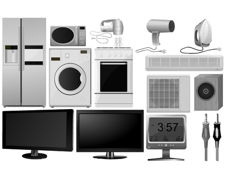 Big collection of vector images of household appliances