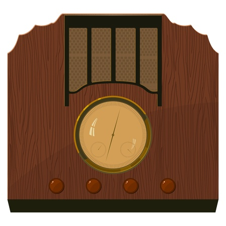 Vector illustration of an old  radio in  a wooden case. EPS10 Vector