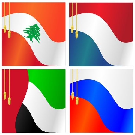 Collection of vector illustrations of flags of Lebanon,  Netherlands, Russia, United Arab Emirates Vector