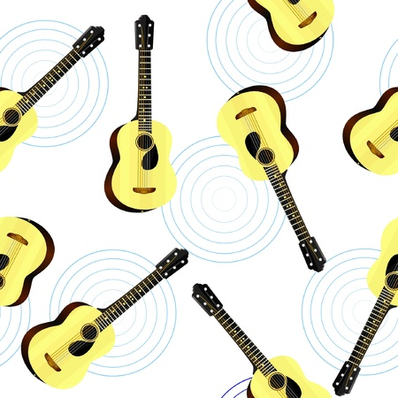 Seamless texture with an acoustic guitar Vector