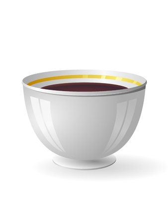 Vector illustration of a porcelain bowl with coffee Stock Vector - 12021481