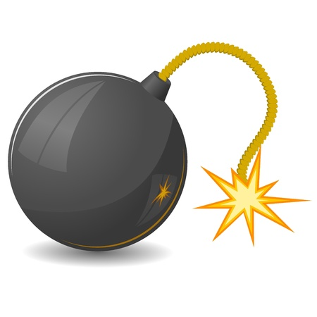 bombings: Vector illustration of round bomb with a fuse Illustration