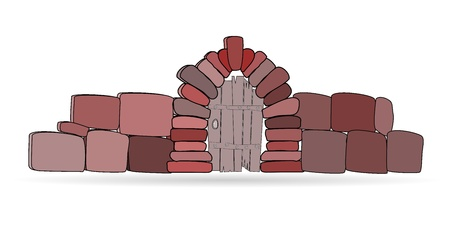 Vector cartoon wickets in a stone fence on a white background Vector