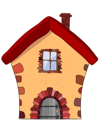 casa de campo: Ilustraci�n vectorial de una casa de piedra